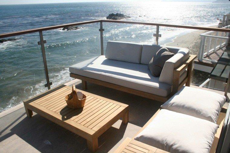 terraza muebles teca mar mesa baja modernas