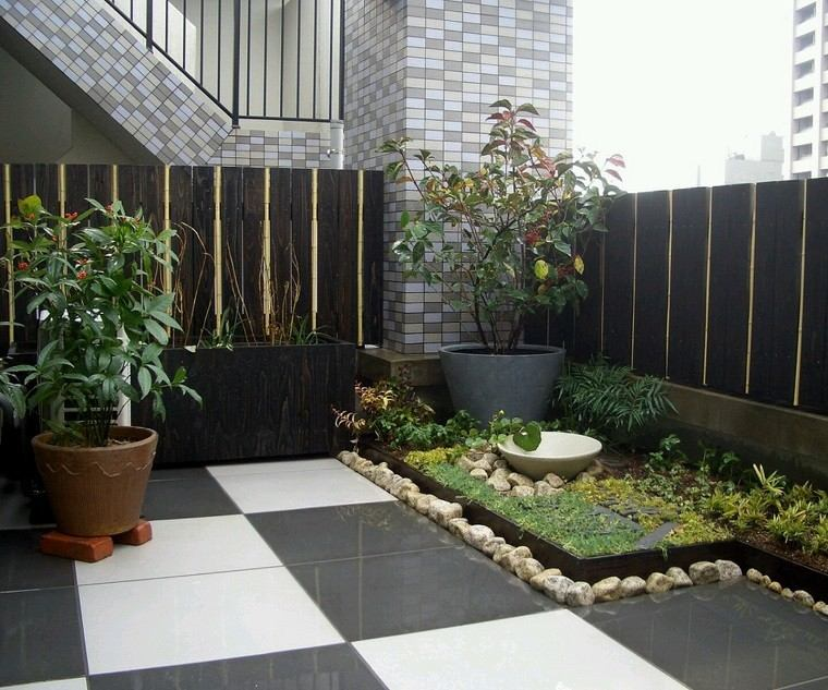 terraza pequeña plantas estilo zen