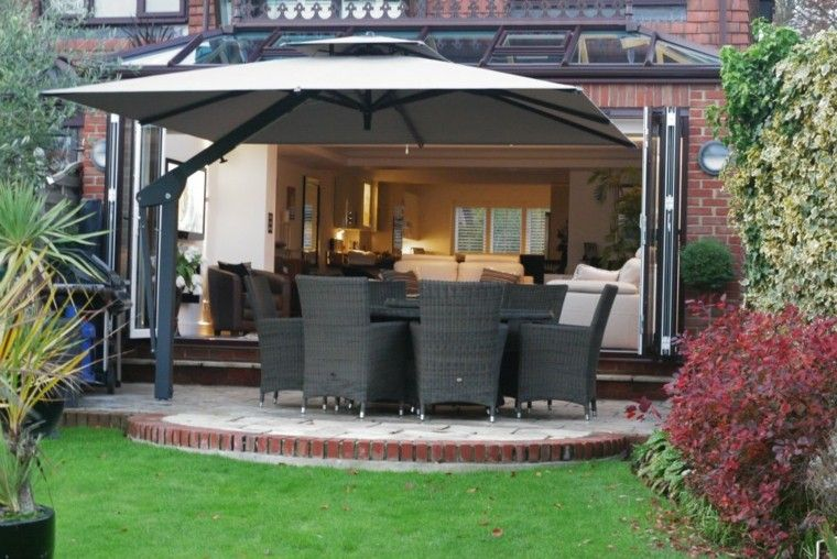 terraza patio muebles negros mimbre