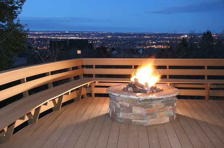 terraza pozo fuego exterior madera