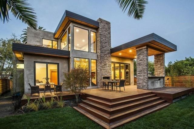 terrazas estilo rustico suelo madera ideas modernas casa