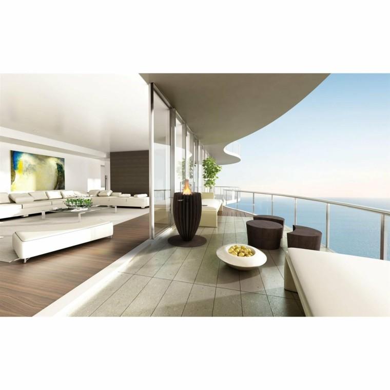 terrazas estilo zen antorchas grande interesantes marron