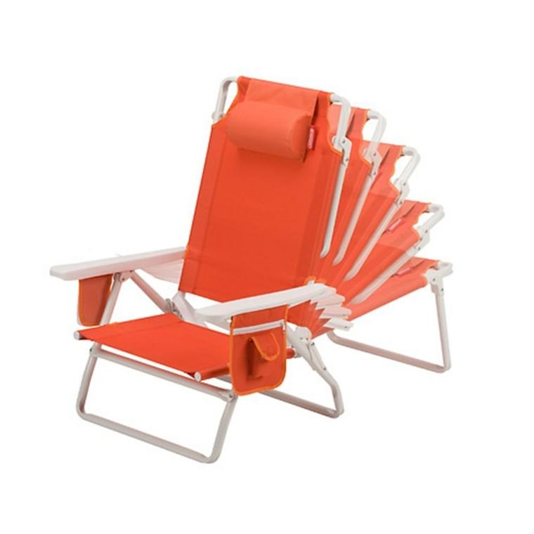textileno silla tumbona naranja playa funcional