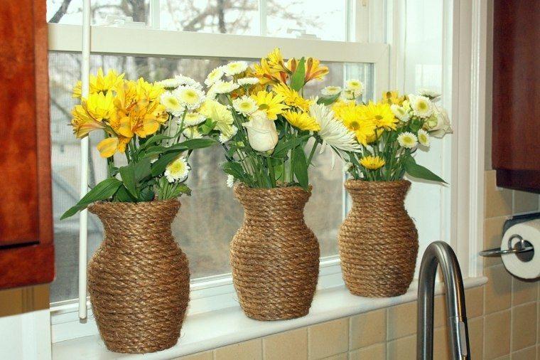 Cuerdas de c amo para decorar cuencos y jarrones - Fotos jarrones con flores ...