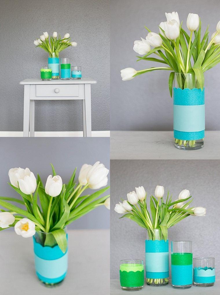 tulipanes blancos ideas jarrones color azul  verde