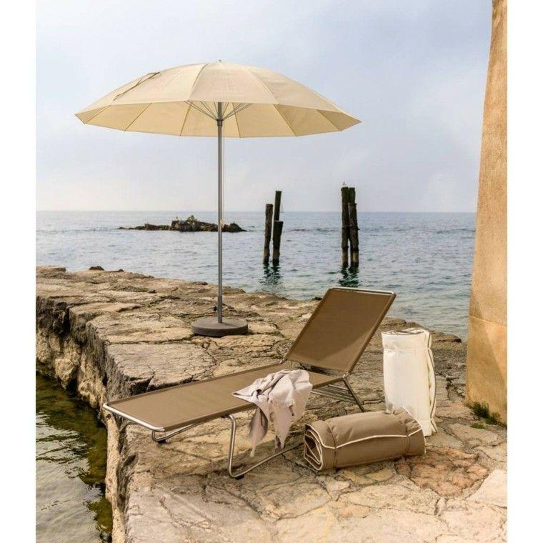 tumbona beige sombrilla ideas playa modernas