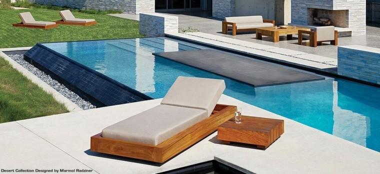 tumbona piscina cama madera beige