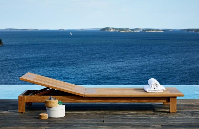 tumbona teca vistas mar azul