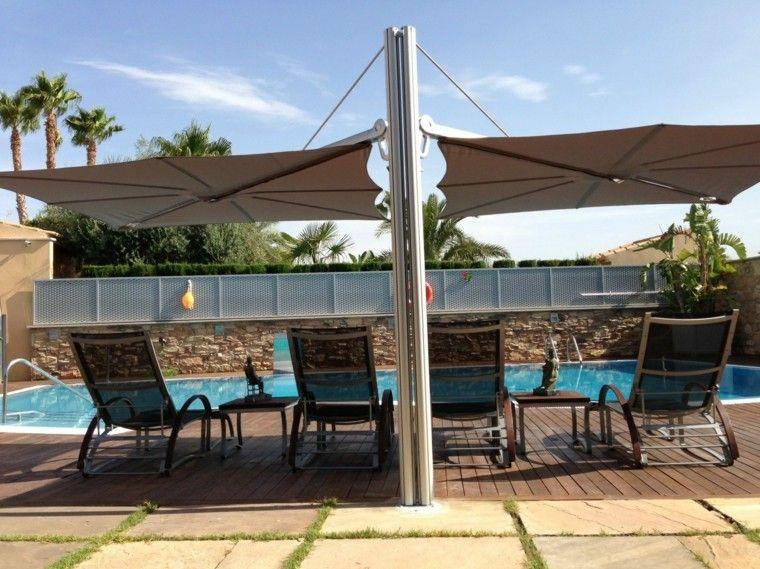 Sombrillas jard n para los d as soleados de verano for Sombrillas para piscinas