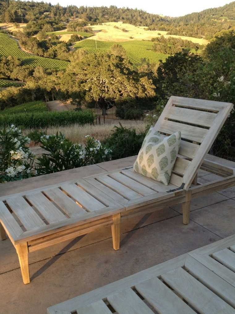 tumbonas jardin ajustable patio cojin madera