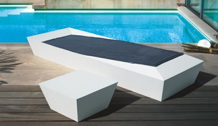 tumbonas jardin moderna mesa auxiliar blanco