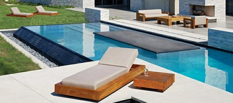 tumbona moderna teca piscina