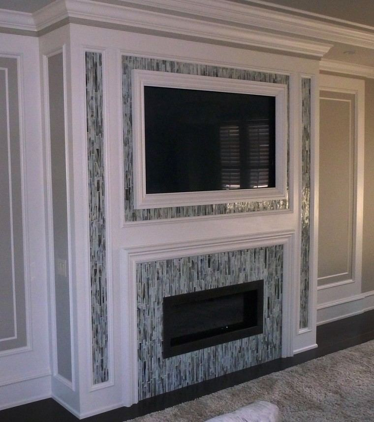 tv chimenea incrustadas pared azulejos