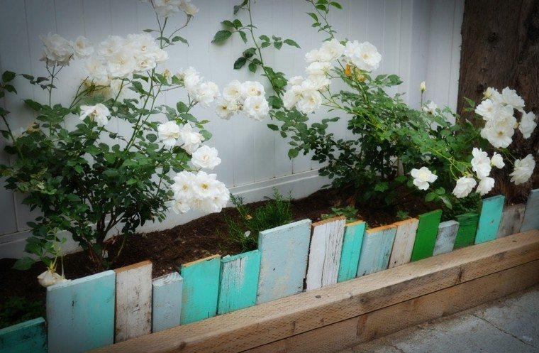valla flores tablas madera colores
