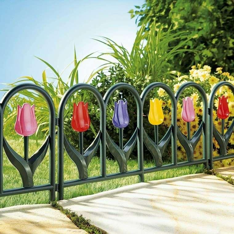 valla metal tulipanes colores varios