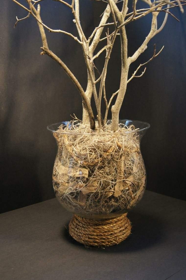 vasija cristal decorada cuerda ramas