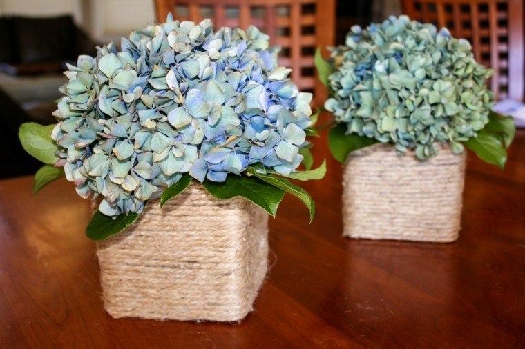 vasos cuadrados flores colores celeste