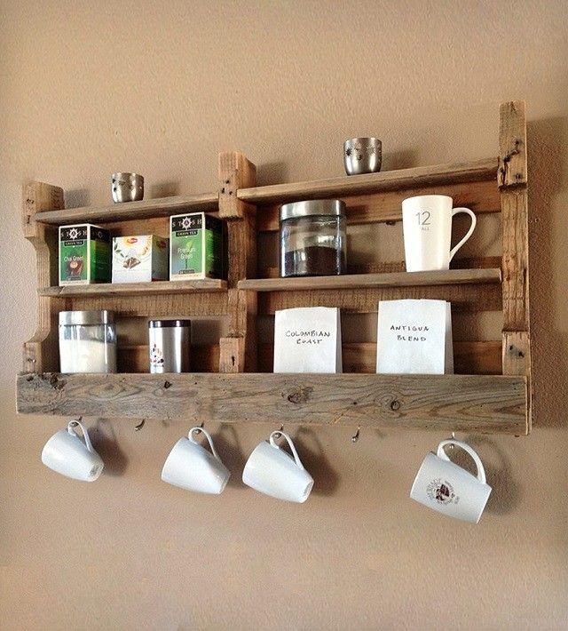 vasos palet cocina creativo estante madera decoracion