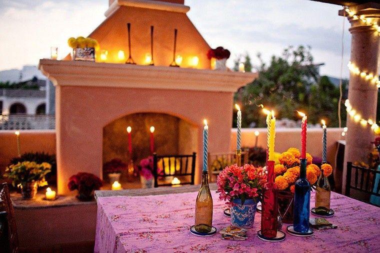 velas decoración mesa exterior luces