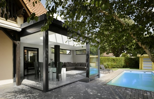 veranda terrasa puertas moderna cristal idea interesante