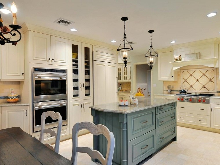verde blanco colores esta cocina armarios madera moderno