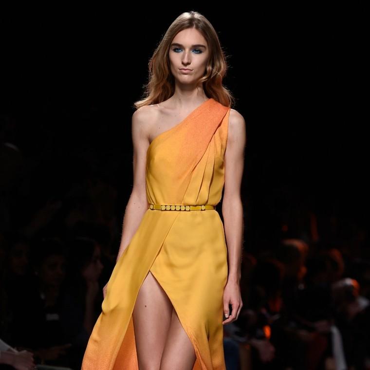 vestido largo amarillo anaranjado cinturón