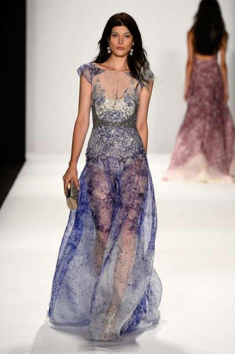 vestido largo transparente violeta