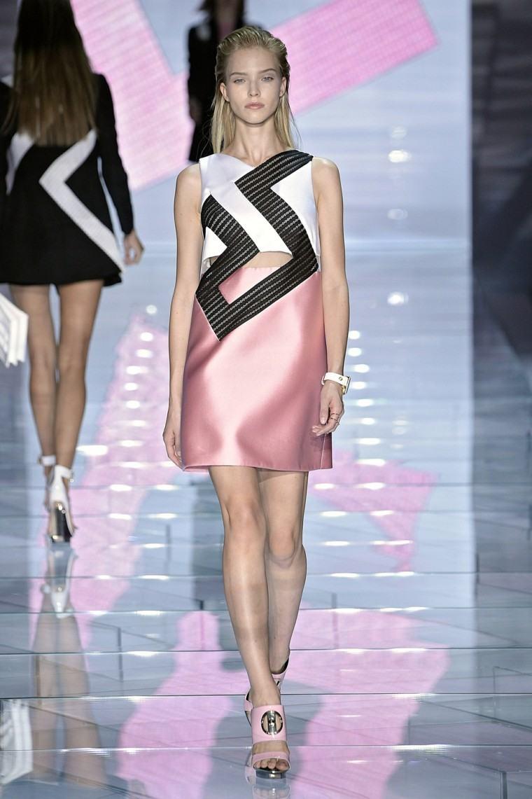 vestido rosa negro raso corto