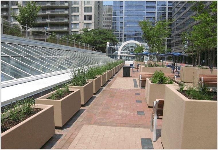 vidrio fibra techo jardineras rectangulares