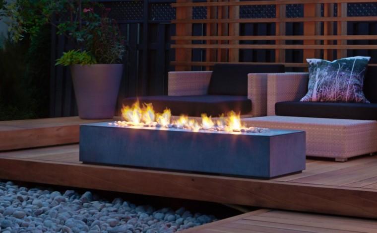 zen baldos pulidos terraza muebles fuego ideas