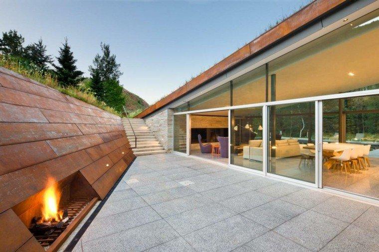 zen terraza lugar fuego ideas modernas minimalista
