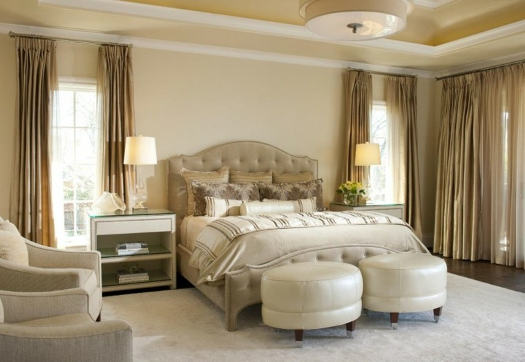 Ellen Grasso disenadora dormitorio taburetes cuero blanco ideas