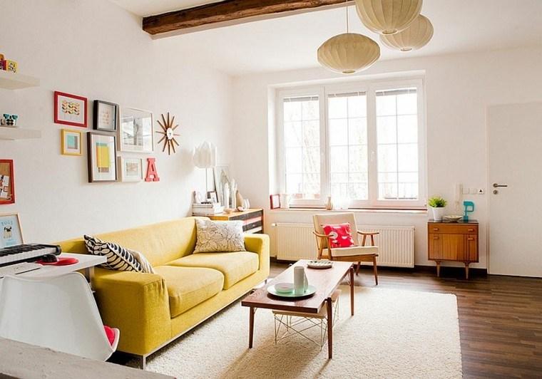George Nelson lamparas burbuja sofa amarilla salon ideas