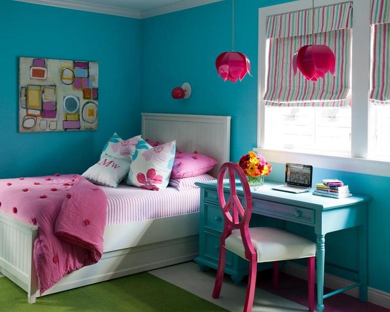 Tobi Fairley cama blanca muebles escritorio madera colores vibrantes ideas
