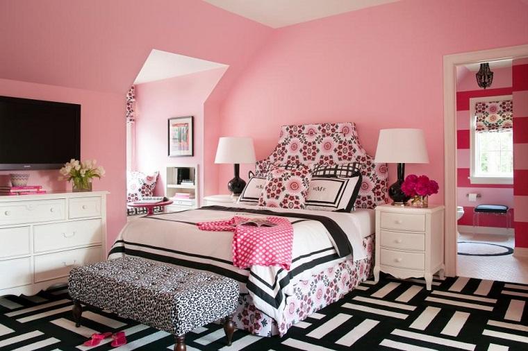 Tobi Fairley rosa paredes dormitorio chica adolescente ideas