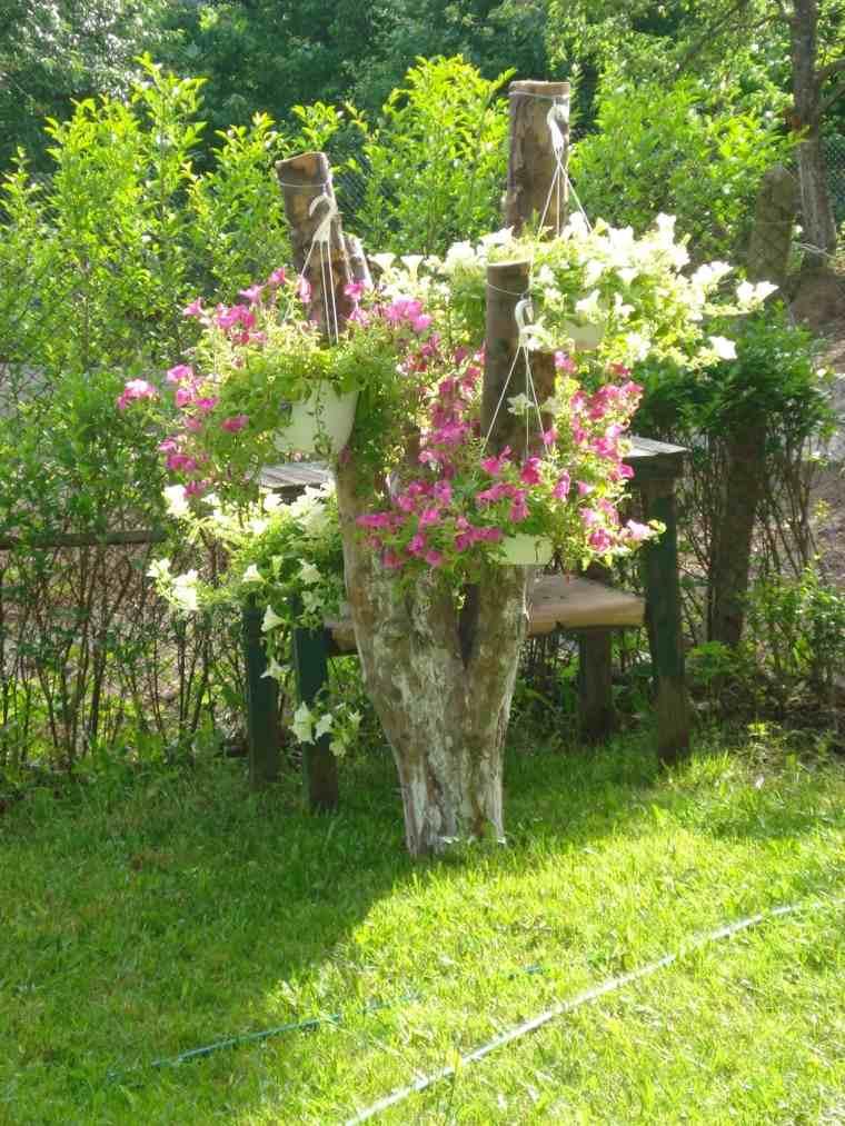 accesorio tronco arbol jardin flores
