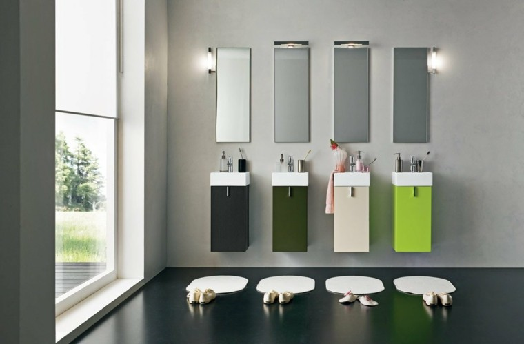 accesorios bano cuatro personas lavabos colores ideas