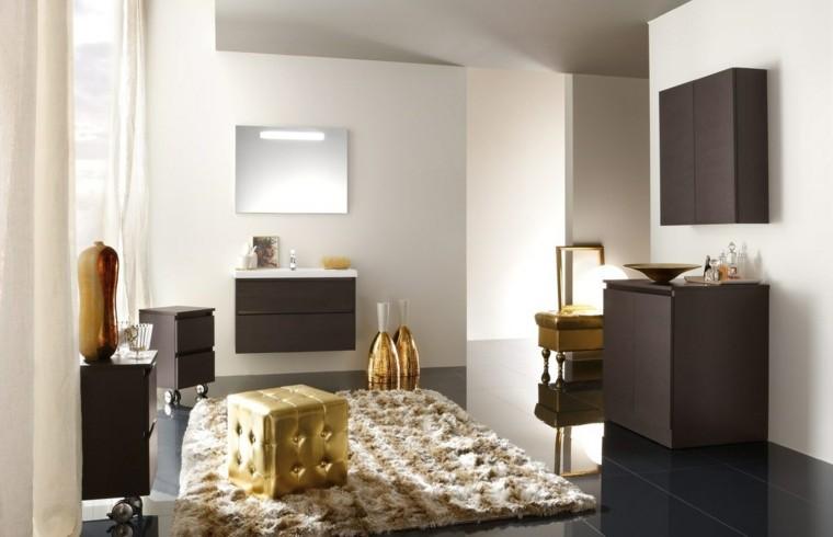 accesorios baño taburete oro alfombra precioso ideas