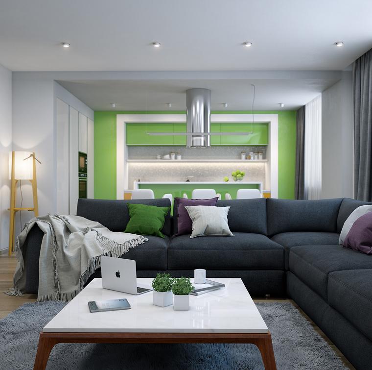 acento verde pared salon abierto cocina ideas