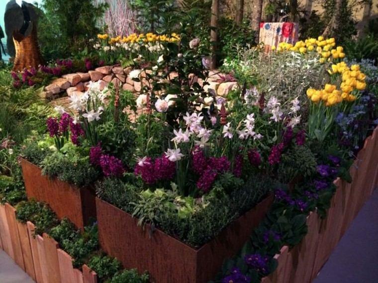 acero oxidado macetas grandes flores bonitas jardin ideas