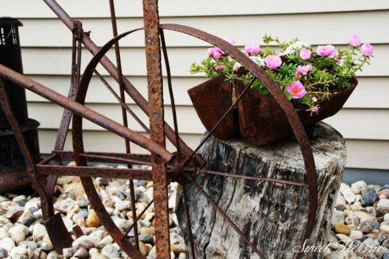 acesorios metal oxidado jardin deco