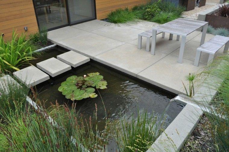 agua cascada plantas casa estanque