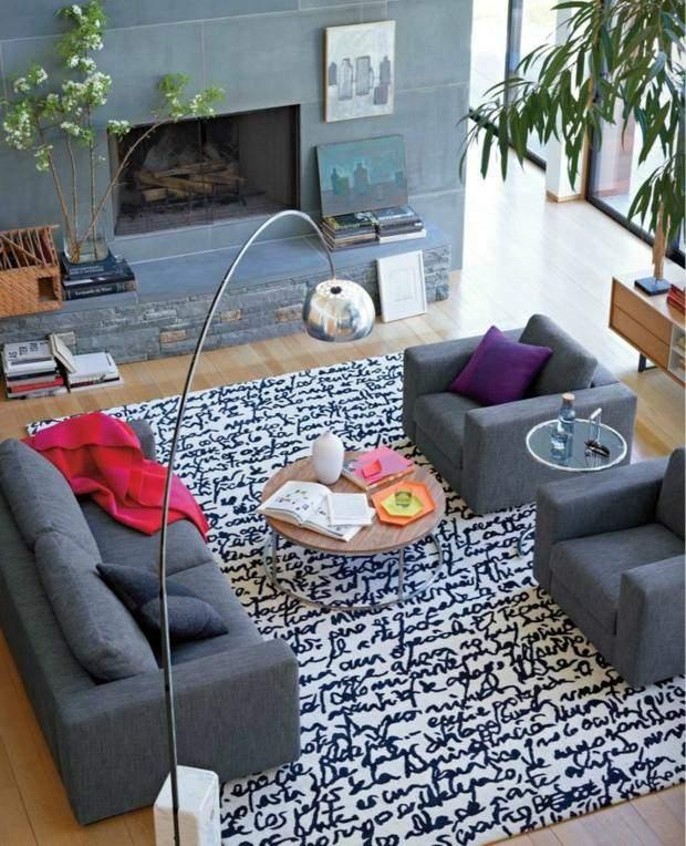 Colores vivos para la decoraci n de salas de estar for Alfombra gris y turquesa