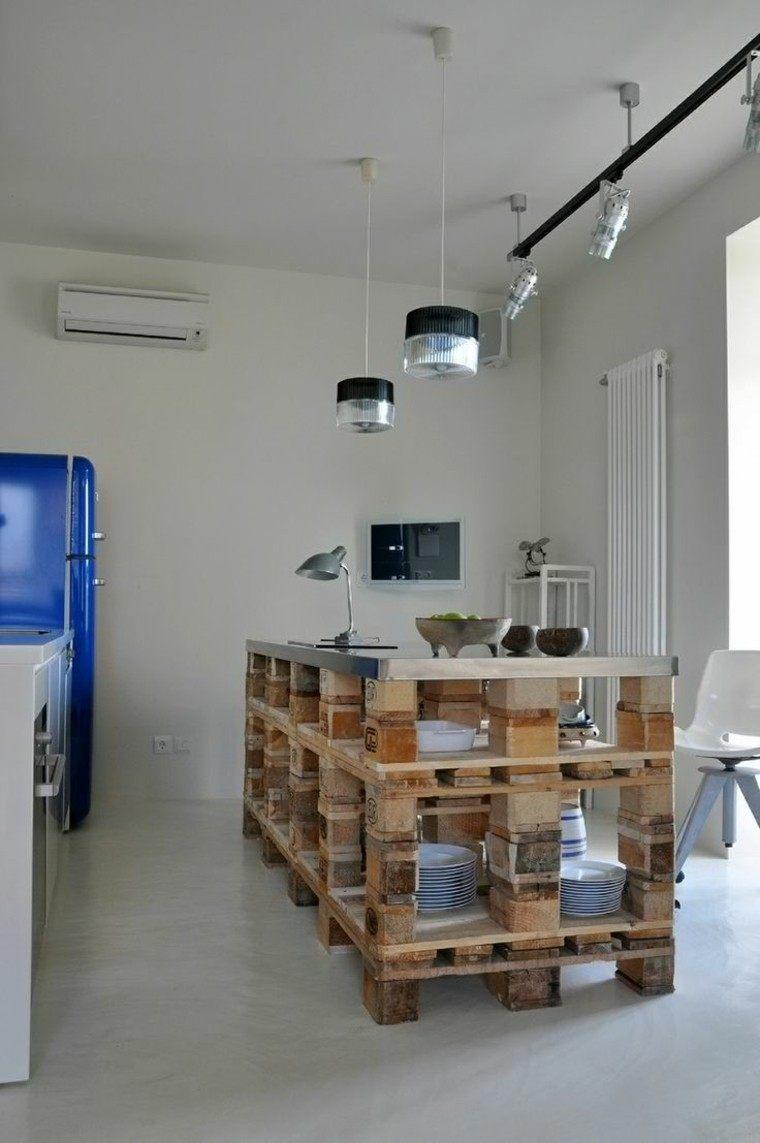 Muebles hechos con palets 100 ideas para el hogar - Cocinas de material rusticas ...