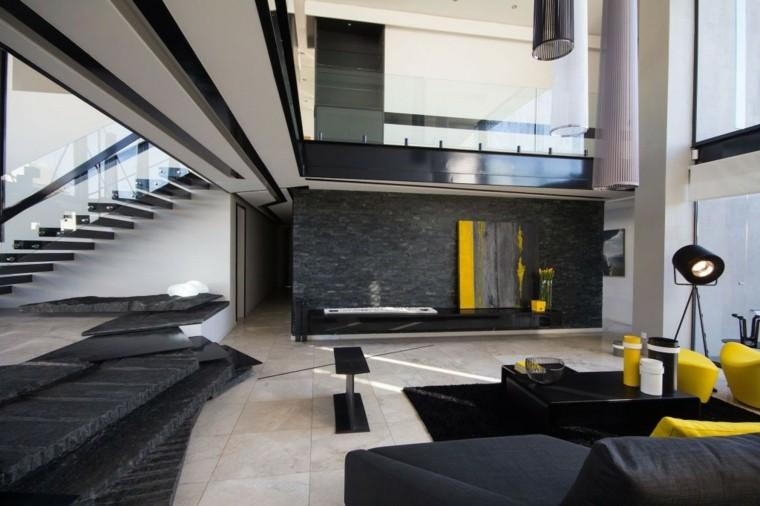 amarillo negro salon escaleras lamparas