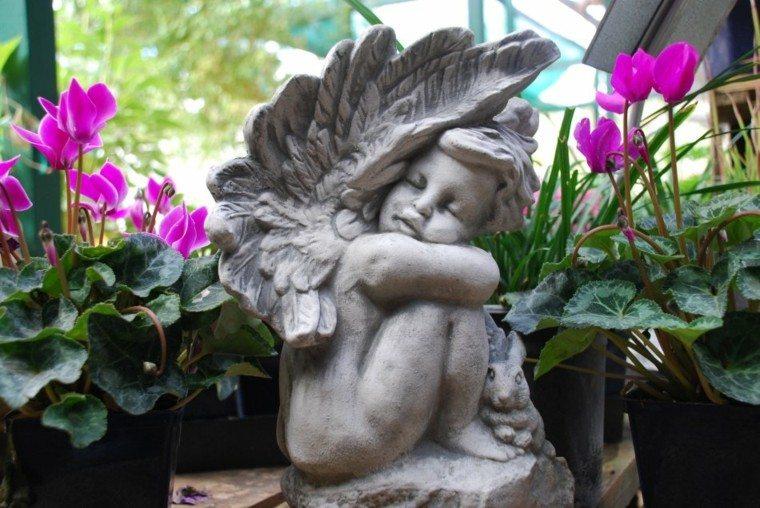 angel piedra flores jardin deco