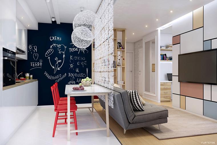 apartamento pequeno comedor mesa blanca sillas rojas ideas