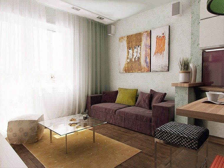 apartamento pequeno sofa purpura cortinas blancas ideas