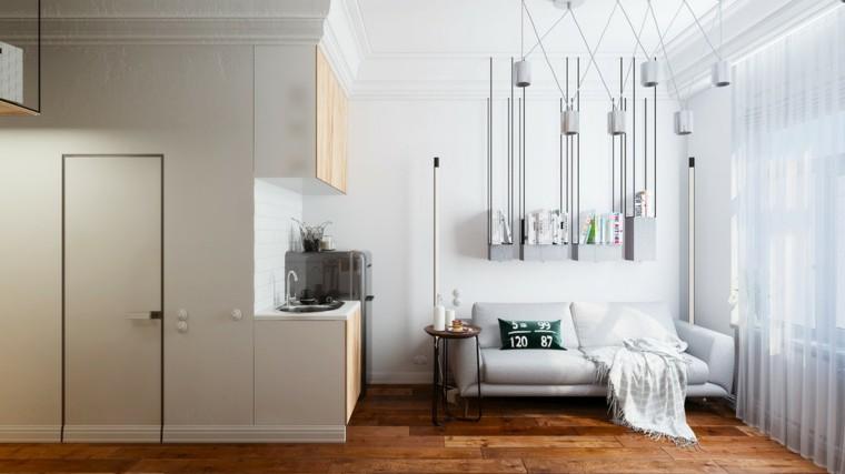apartamento sofa pequena blanca estanterias cortinas ideas