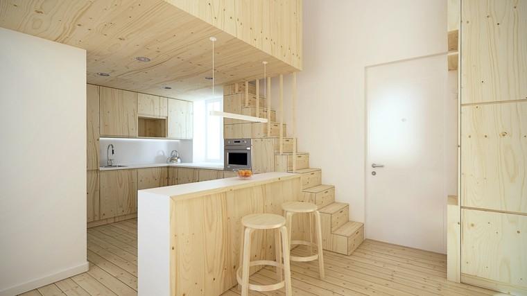 apartamentos pequenos cocina sillas barra madera ideas